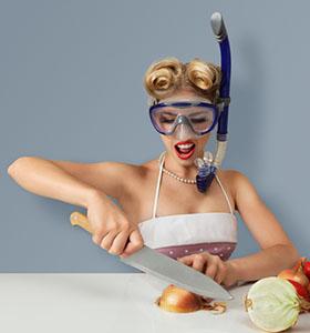 cortar cebolla con gafas